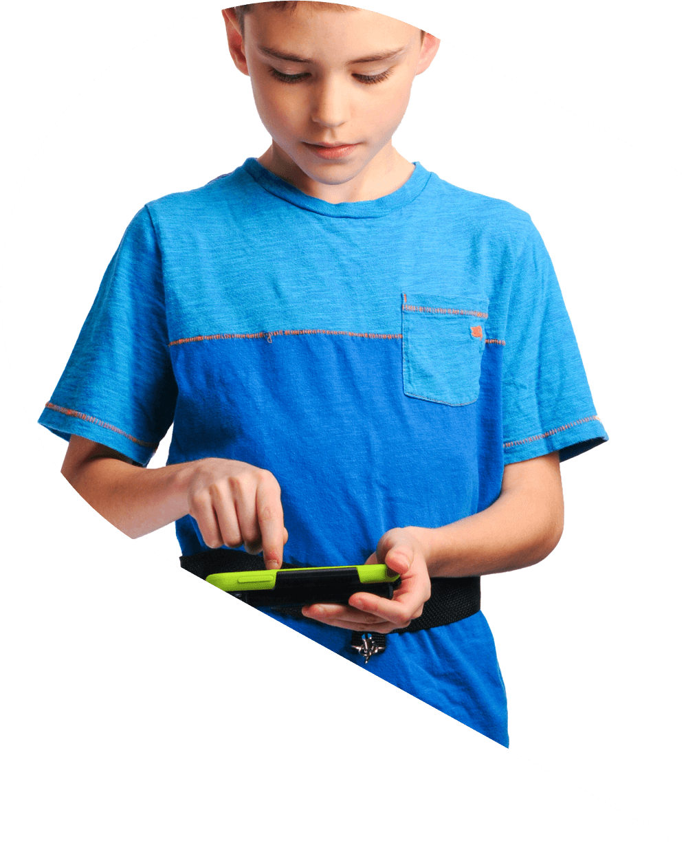 Image of a child trying out a smaller sized A A C device